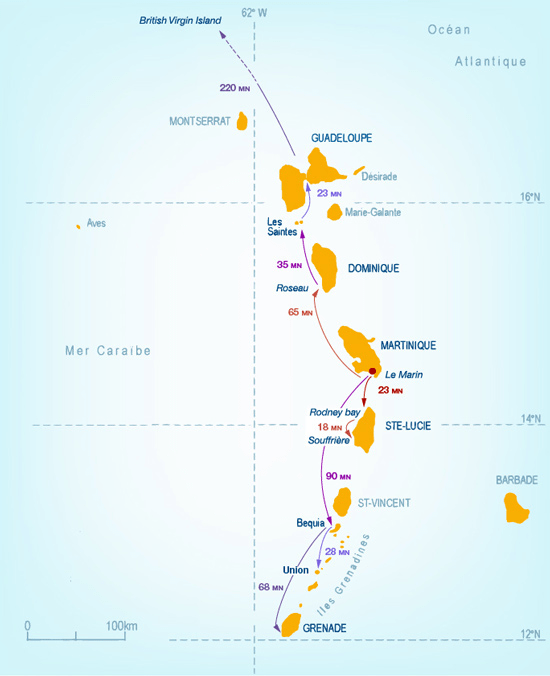 Carte de la croisière Mermer 10 jours les grenadines carte des Petites Antilles